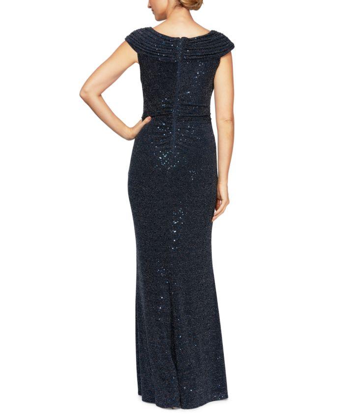 Alex Evenings Asymmetrical-Neck Glitter Gown & Reviews - Dresses - Women - Macy's