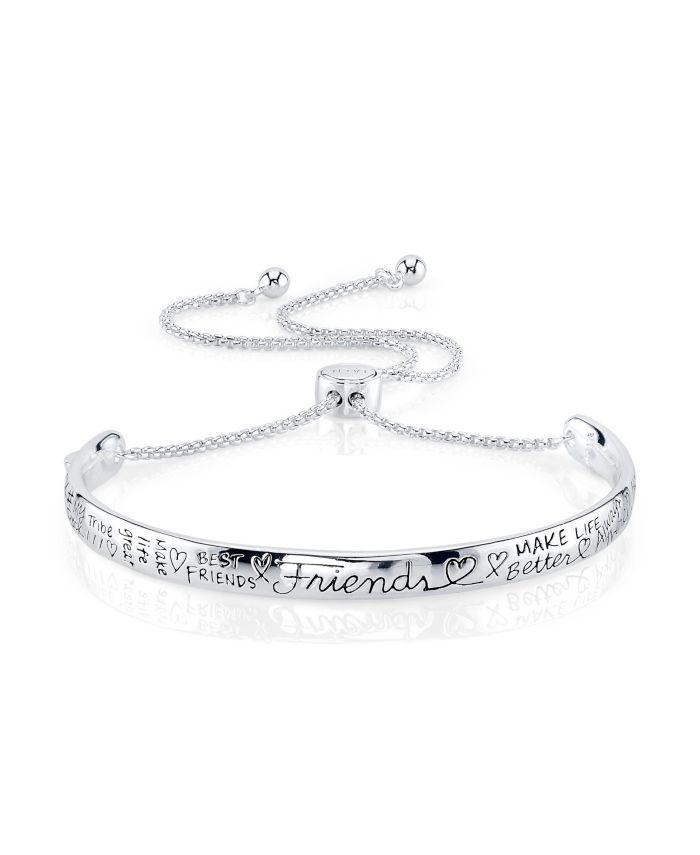 "Unwritten ""Friends"" Silver Plated Adjustable Bolo Bracelet & Reviews - Bracelets - Jewelry & Watches - Macy's"