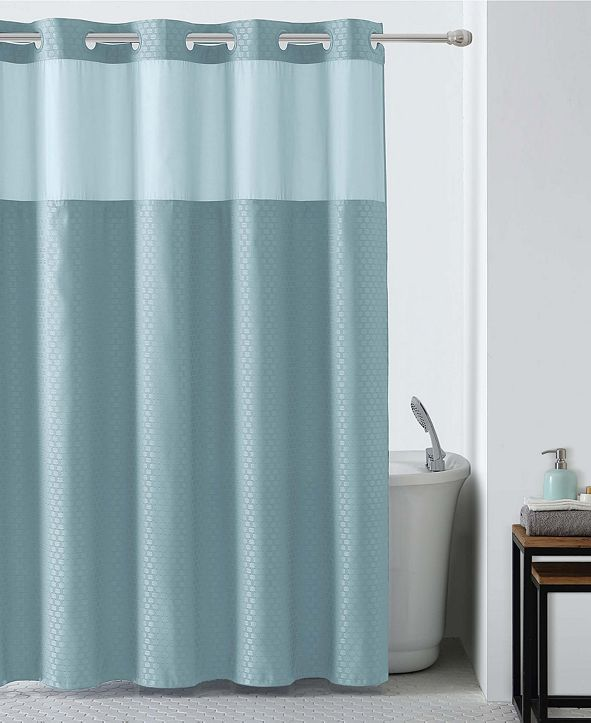Hookless Basketweave Shower Curtain with Peva Liner