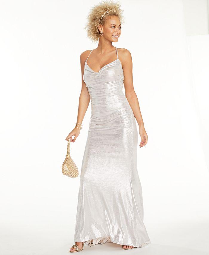 Eliza J - Ruched Metallic Gown