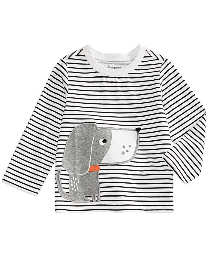 First Impressions - Baby Boys Striped Dog-Print T-Shirt