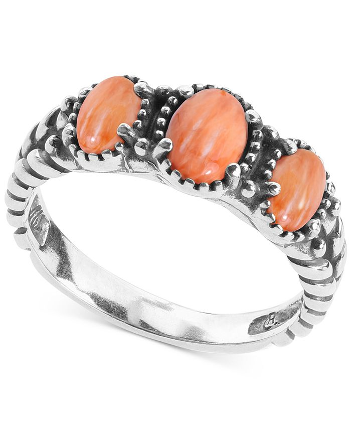 American West - Orange Spiny Oyster Three Stone Statement Ring in Sterling Silver