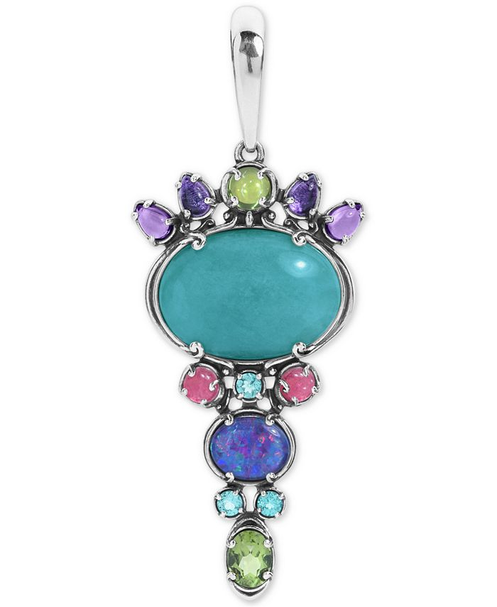 Carolyn Pollack - Multi-Gemstone Charm Pendant Enhancer in Sterling Silver