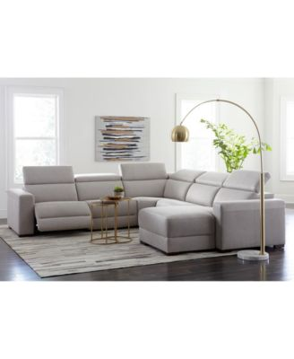 Nevio 3-pc Leather Sectional Sofa with Chaise, 1 Power Recliner and Articulating Headrests, Created for Macy's