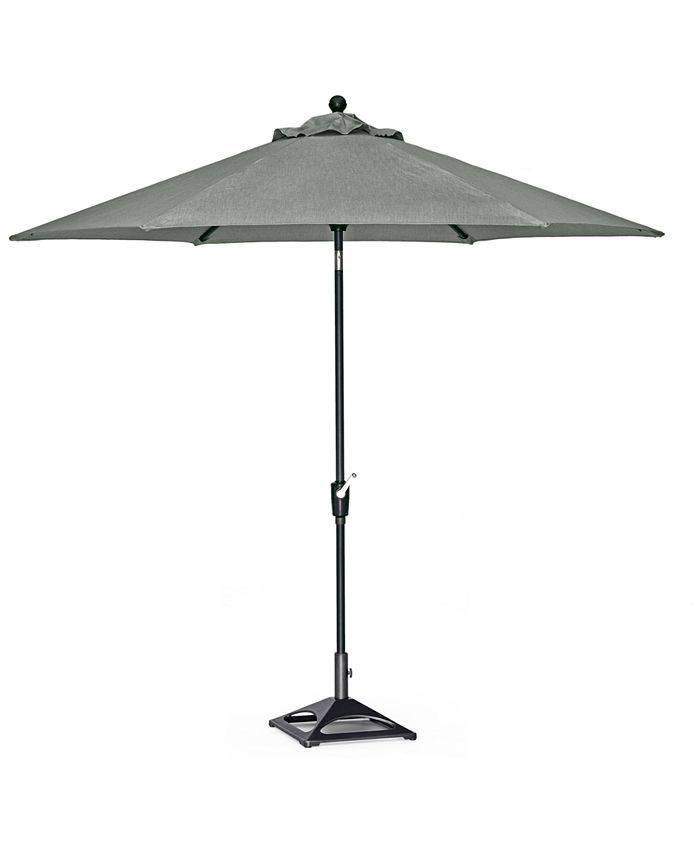 Furniture - Highland Outdoor 9' Auto-Tilt Umbrella and Base with Sunbrella® Fabric