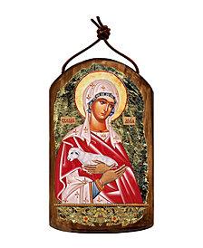 G.DeBrekht Saint Agnia Wooden Greek Christian Orthodox Icon Ornament