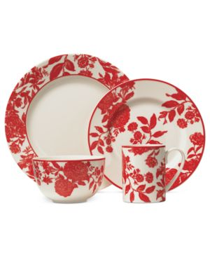 Martha Stewart Collection Orleans Red 4-Piece Place Setting
