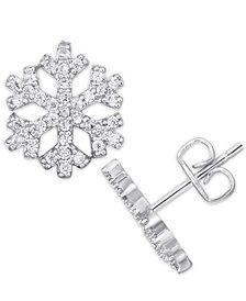 Cubic Zirconia Snowflake Stud Earrings in Fine Silver Plate