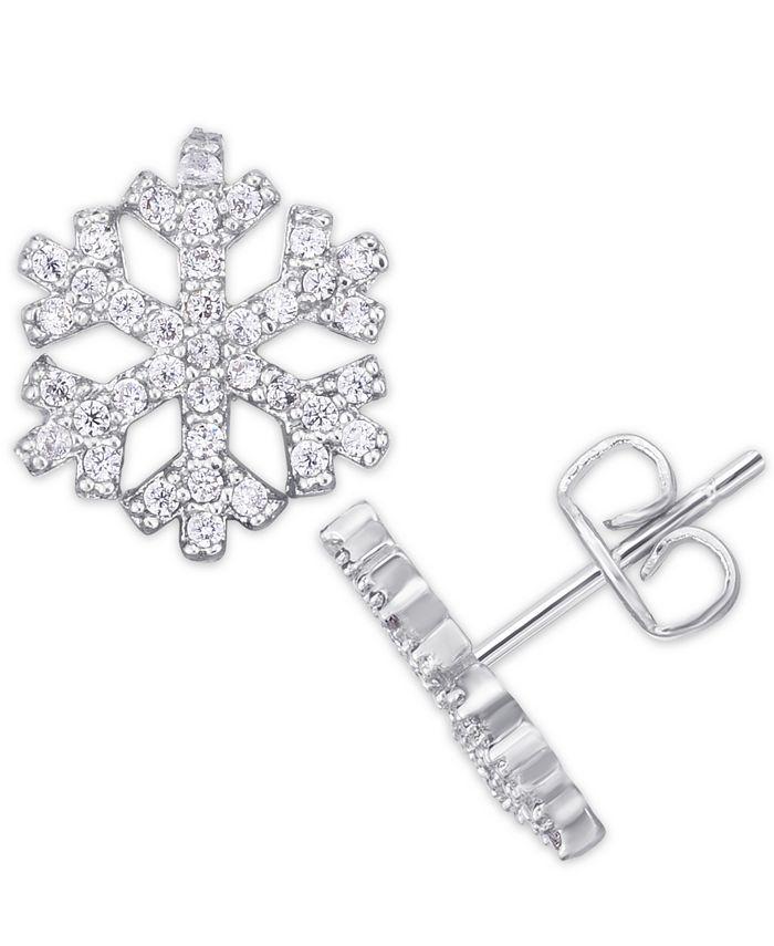 Macy's - Cubic Zirconia Snowflake Stud Earrings in Fine Silver Plate