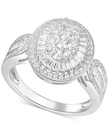 Diamond Oval Cluster Statement Ring (1 ct. t.w.) in 14k White Gold