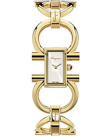 Ferragamo Women's Swiss Double Gancini Gold Ion-Plated Bracelet Watch 14x23mm