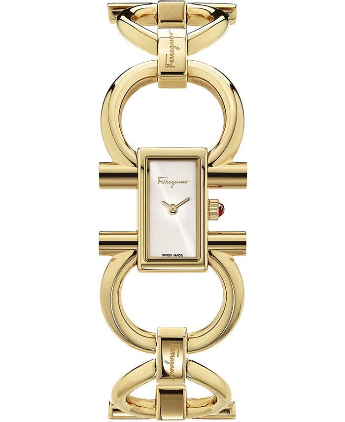 Ferragamo - Women's Swiss Double Gancini Gold Ion-Plated Bracelet Watch 14x23mm