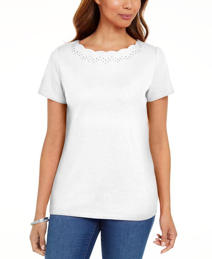 Karen Scott - Cotton Scalloped-Neck T-Shirt