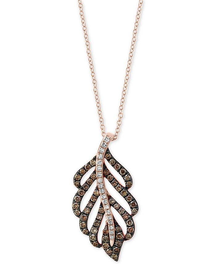 """EFFY Collection - Diamond Feather 18"""" Pendant Necklace in 14k Rose Gold"""