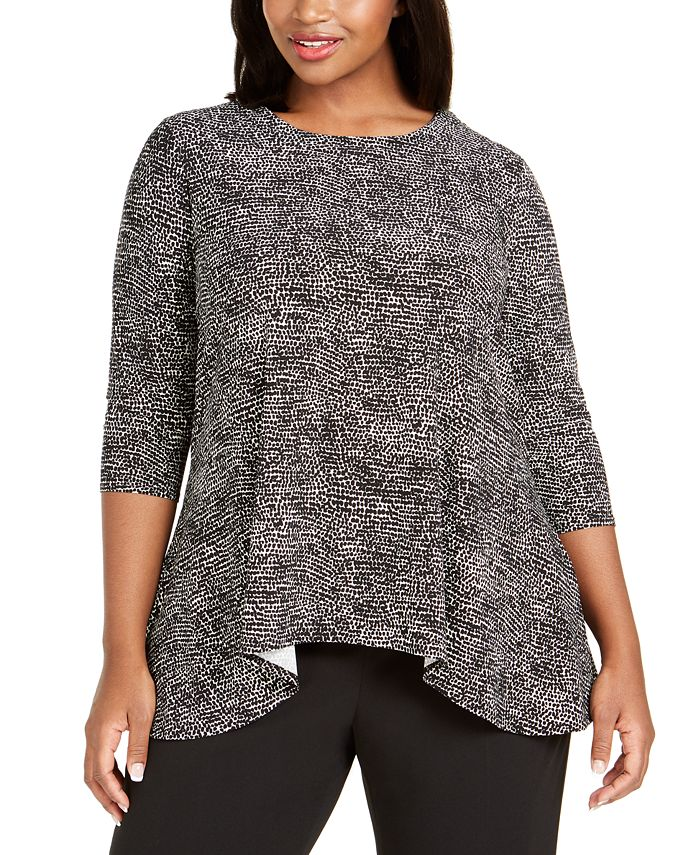 Anne Klein - Plus Size Printed Handkerchief-Hem Top