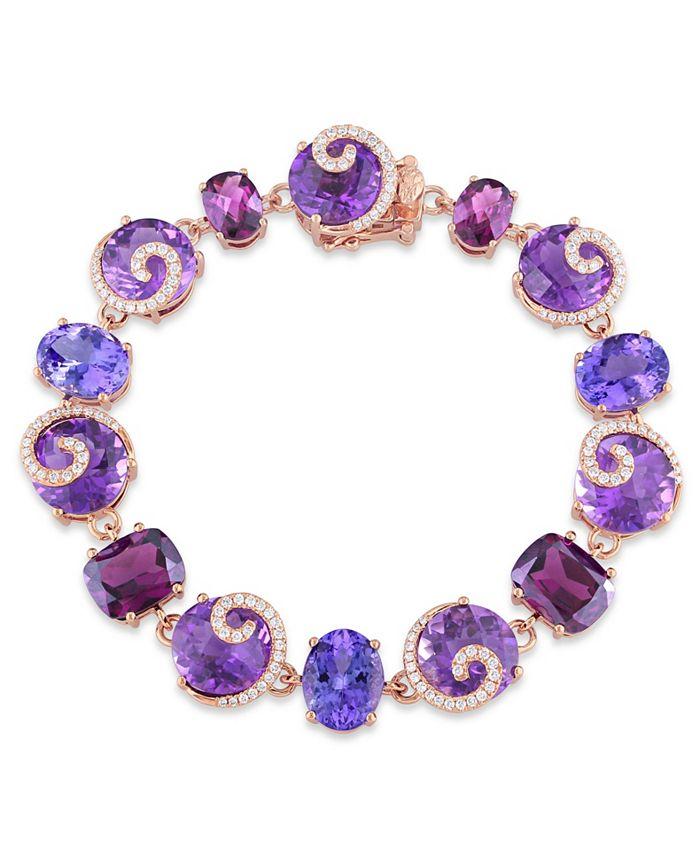 Macy's - Multi-Gemstone (41 5/8 ct. t.w.) and Diamond (3/4 ct. t.w.) Link Scroll Bracelet in 14k Rose Gold