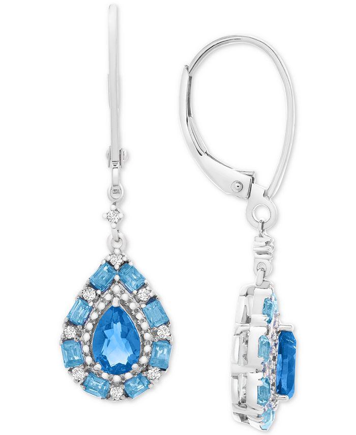 Macy's - Blue Topaz (1-1/4 ct. t.w.) & White Topaz (1/8 ct. t.w.) Drop Earrings in Sterling Silver