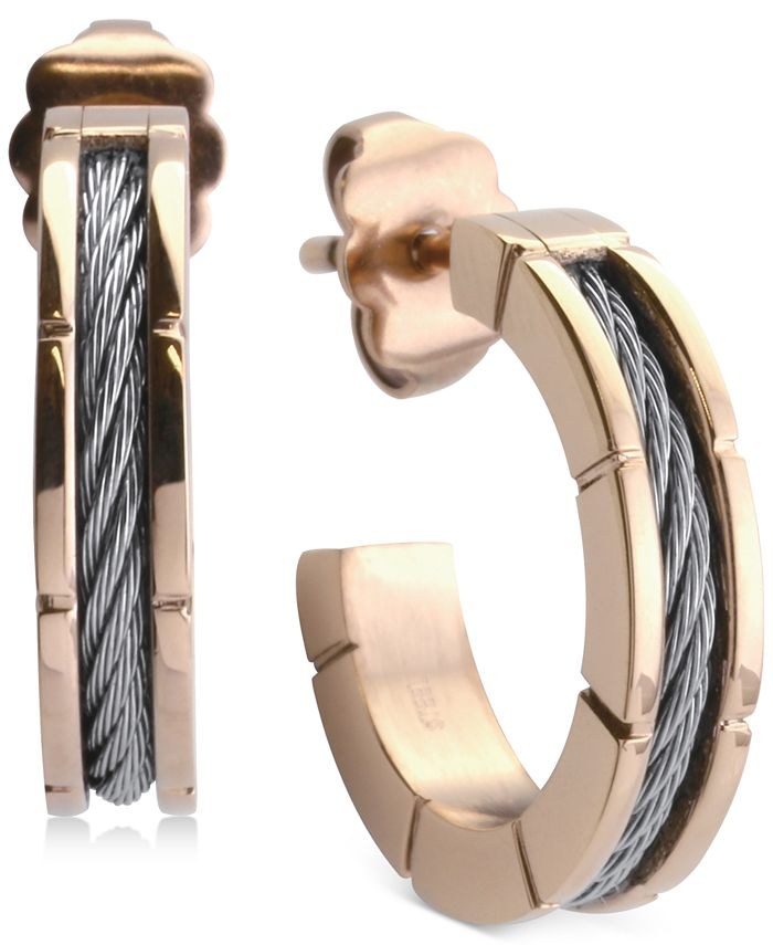 """CHARRIOL - Small Hoop Cable Earrings in Stainless Steel & Rose Gold-Tone PVD, 1"""""""