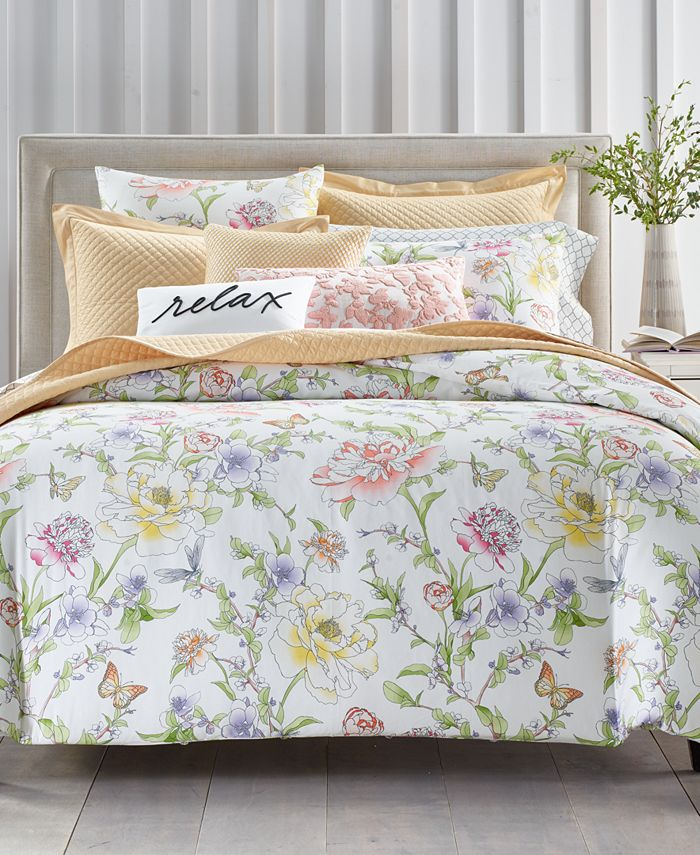 Charter Club - Damask Designs Blossom Cotton 300-Thread Count 3-Pc. Full/Queen Duvet Cover Set