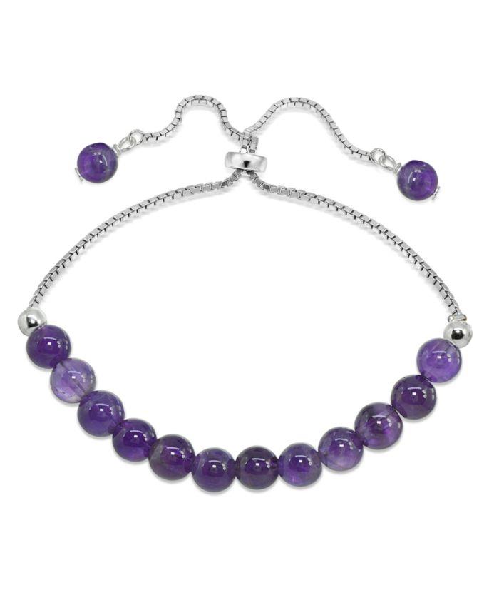 Macy's Genuine Stone Bead Adjustable Bracelet in Fine Silver Plate & Reviews - Bracelets - Jewelry & Watches - Macy's