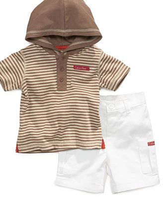 Calvin Klein Baby Set, Baby Boys 2-Piece Hooded Tee and Twill Shorts