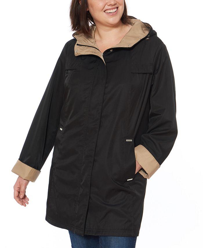 Jones New York - Plus Size Hooded Colorblocked Raincoat