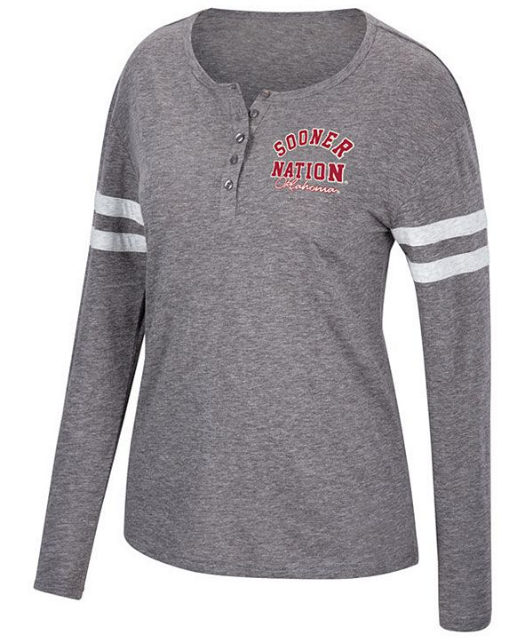 Top of the World Women's Oklahoma Sooners Henley Long Sleeve T-Shirt