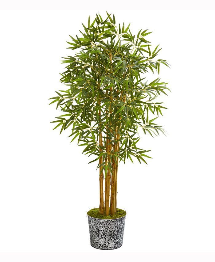 Nearly Natural - 5ft. Bamboo Artificial Tree in Black Embossed Tin Planter
