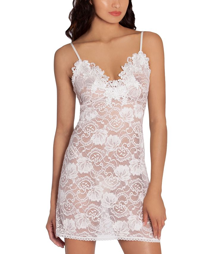 Linea Donatella - Embroidered Stretch Lace Chemise Nightgown