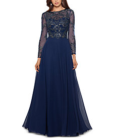 XSCAPE Embellished Chiffon Gown