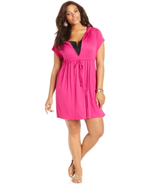 Dotti Plus Size Cover Up, Short-Sleeve Hooded Dress Women's Swimsuit