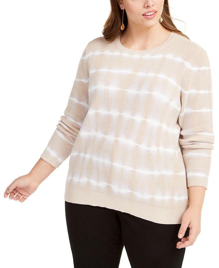INC International Concepts - Plus Size Cotton Tie-Dyed Sweater