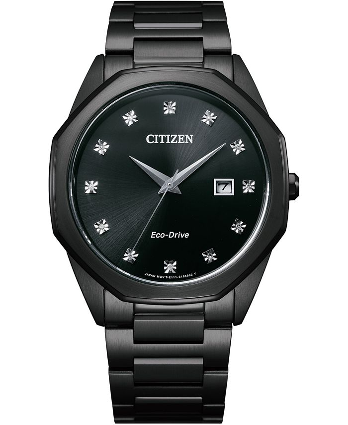 Citizen - Men's Corso Diamond-Accent Black Stainless Steel Bracelet Watch 41mm