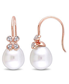 South Sea Cultured Pearl (11.5-12mm) and Diamond (1/8 ct. t.w.) Diamond Petal Earrings in 14k Rose Gold