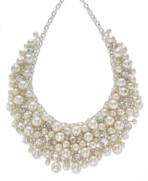 1950s Costume Jewelry Charter Club Silver-Tone Glass Pearl Cluster Bib Necklace $32.70 AT vintagedancer.com