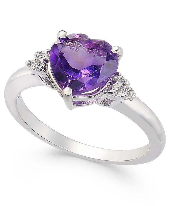 Macy's - Amethyst (1-3/4 ct. t.w.) & Diamond (1/20 ct. t.w.) Heart Ring in 14k White Gold