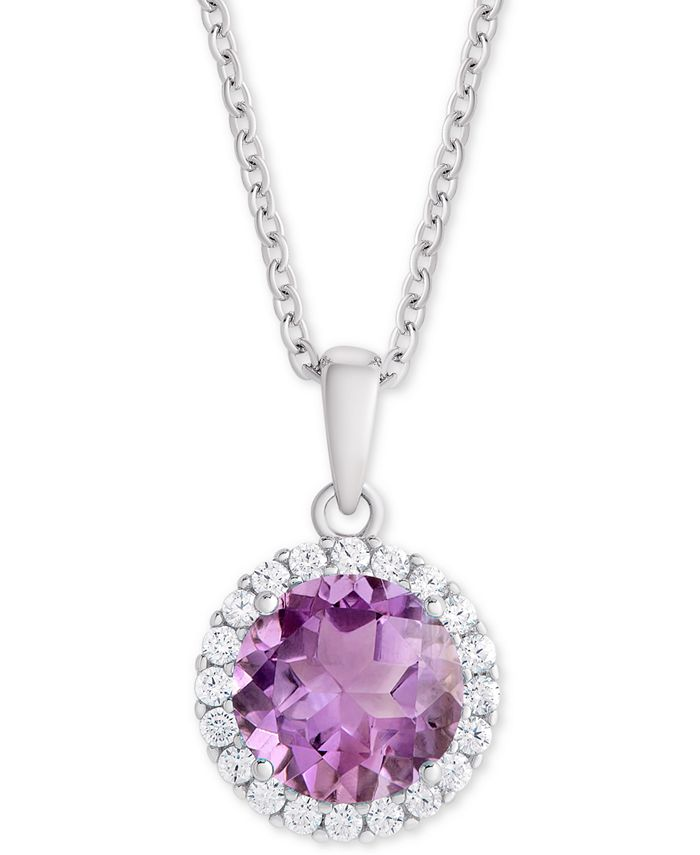 """Macy's - Amethyst (1-3/4 ct. t.w.) & Cubic Zirconia Halo 18"""" Pendant Necklace in Sterling Silver"""