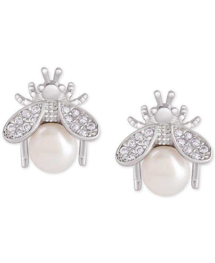 Macy's - Mother-of-Pearl & Cubic Zirconia Bee Stud Earrings in Sterling Silver