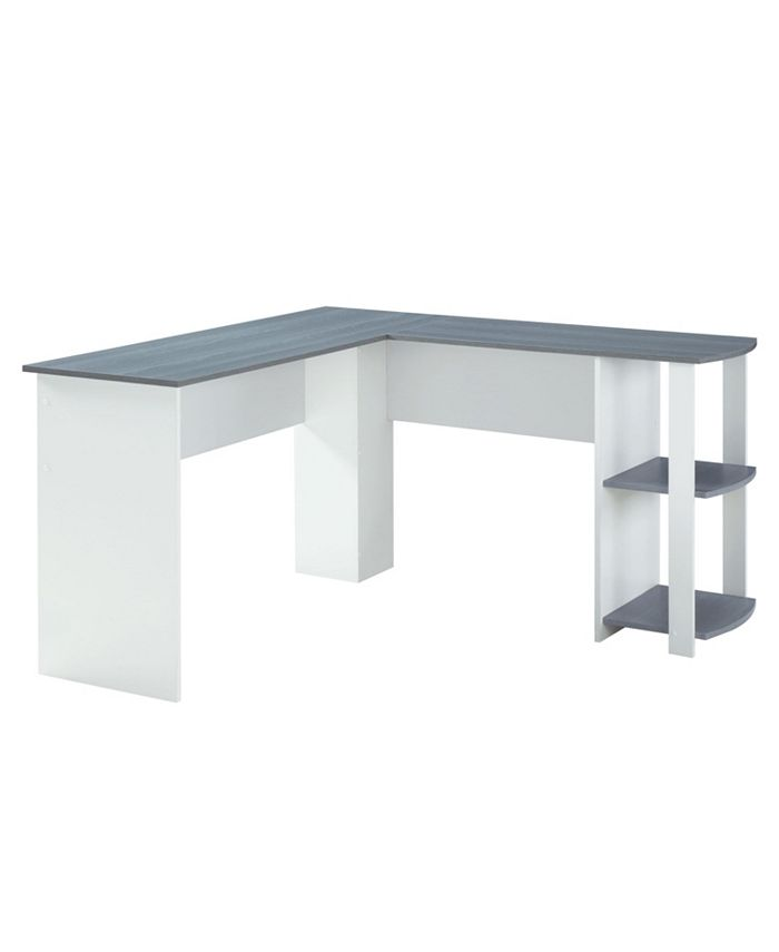 RTA Products - Techni Mobili Modern L-Shaped Desk w/ Side Shelves