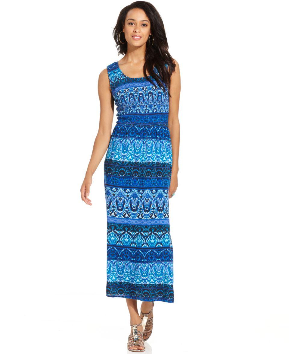 Elementz Dress, Sleeveless Scoop Neck Printed Maxi   Dresses   Women