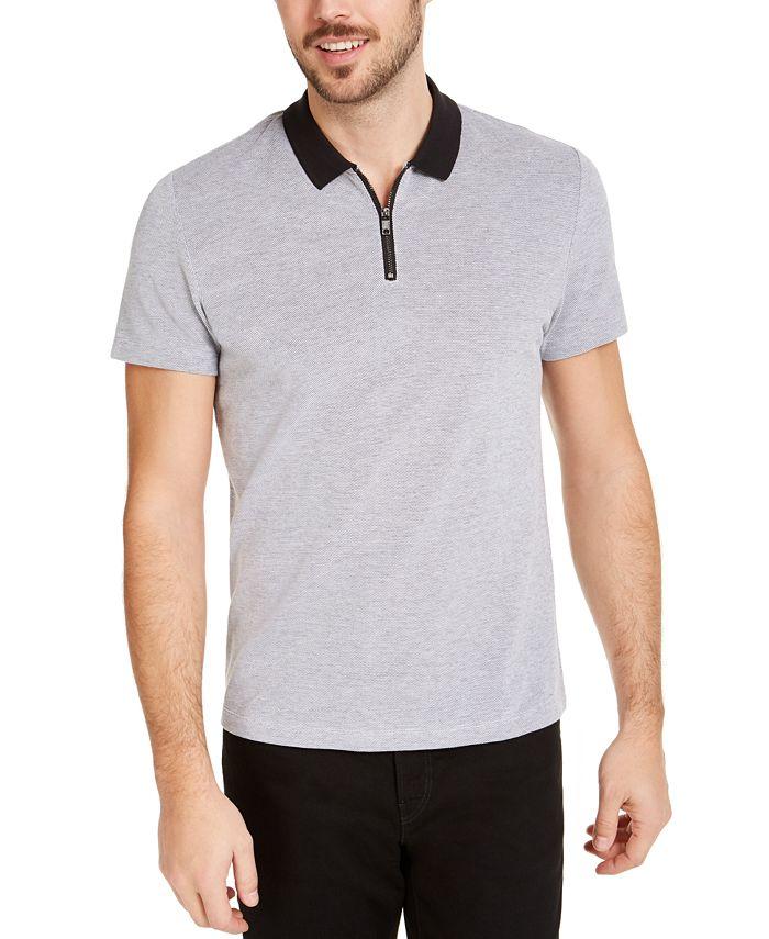Men's Micro Jacquard Zipper Polo Shirt, Created for Macy's