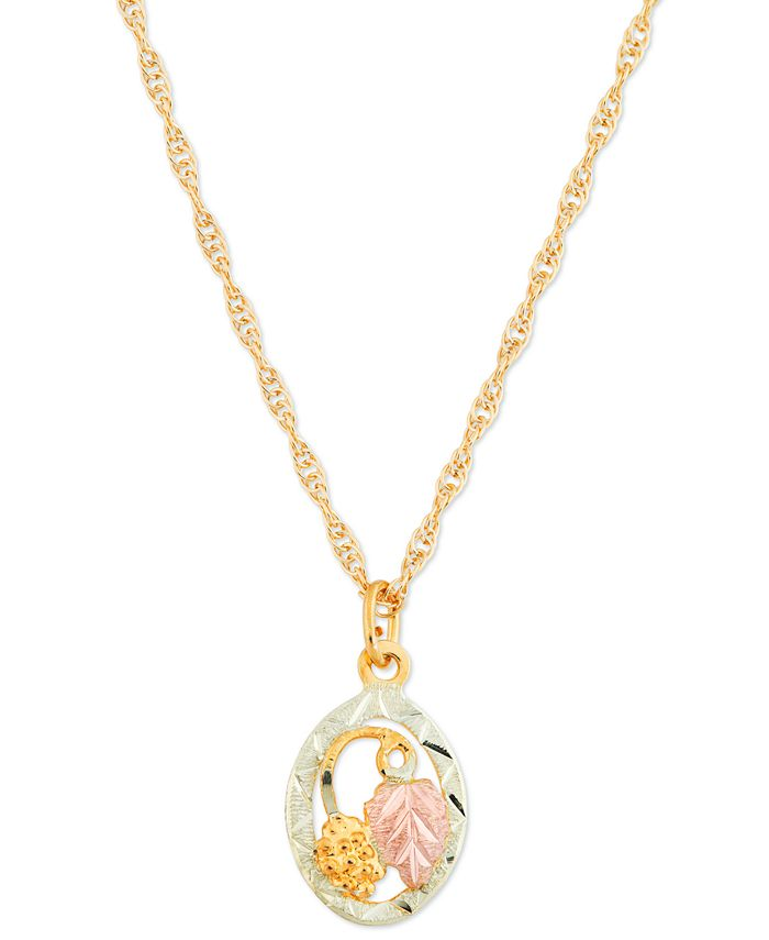 "Black Hills Gold - 10K Yellow Gold Pendant 18"" Necklace with 12K Rose and Green Gold"