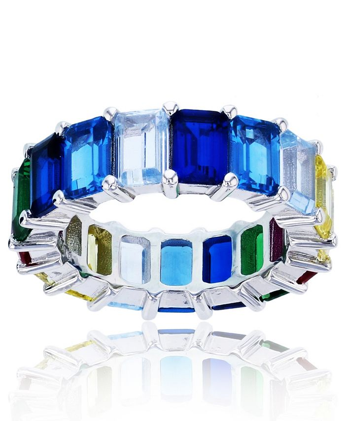 Macy's - Rainbow Colored Cubic Zirconia Eternity Band in Rhodium Plated Sterling Silver