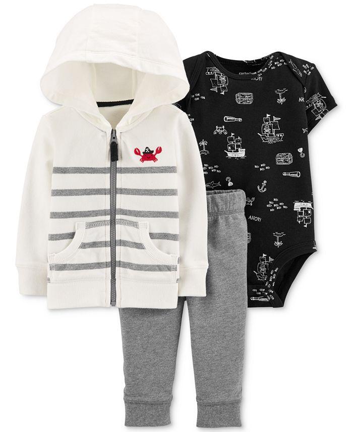 Carter's - Baby Boys 3-Pc. Cotton Crab Hoodie, Bodysuit & Jogger Pants Set