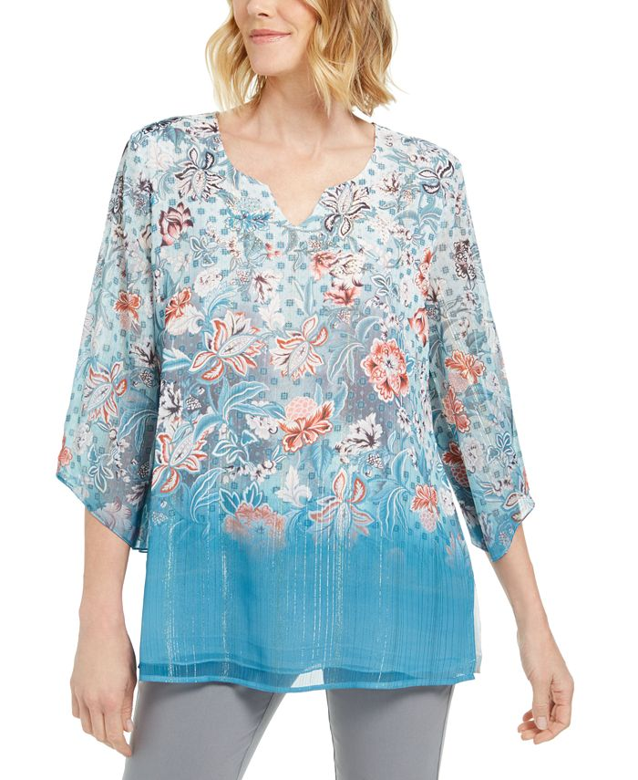 JM Collection - Split-Neck Chiffon Tunic, Created For Macy's