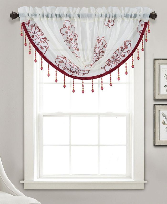 """RT Designers Collection - Bergen Floral Embroidered 47"""" x 37"""" Swag Valance"""