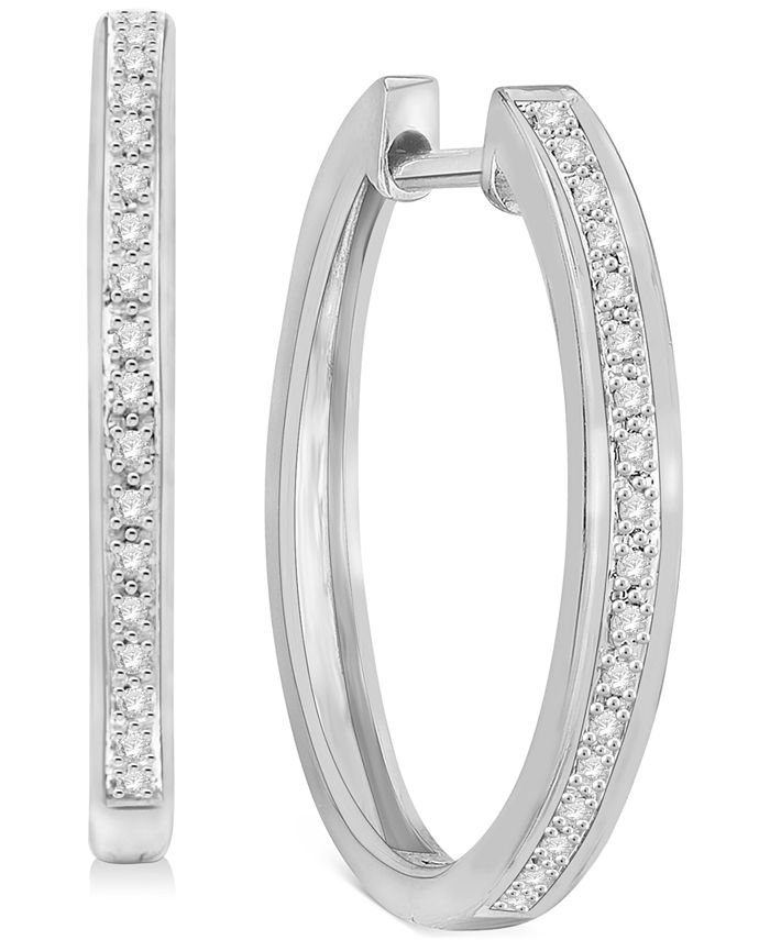 """Macy's - 3-Pc. Set Diamond Small Hoop Earrings (1/3 ct. t.w.) in Sterling Silver, Gold-Plate & Rose Gold-Plate, 0.75"""""""