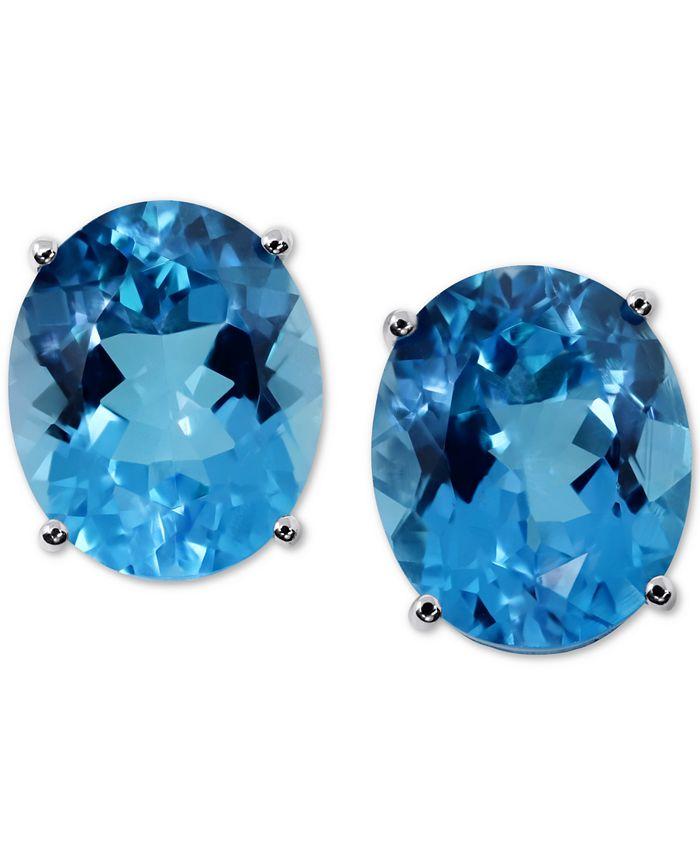 Macy's - Blue Topaz Stud Earrings (11 ct. t.w.) in 14k White Gold