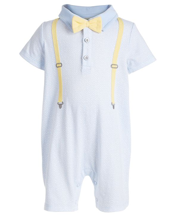 First Impressions Baby Boys Bow Tie & Suspenders Cotton Sun Suit, Created for Macy's
