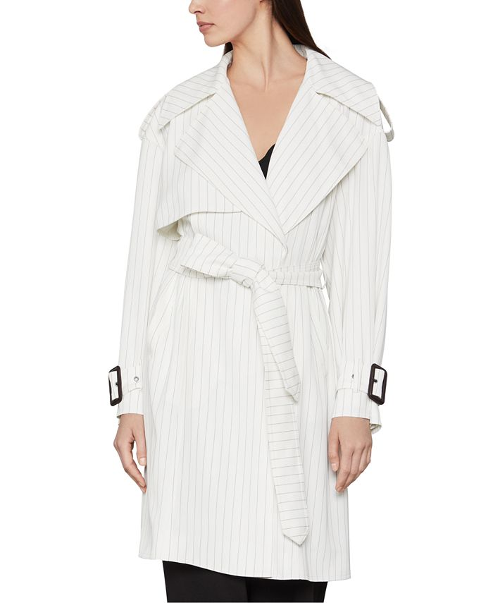 BCBGMAXAZRIA - Pinstriped Belted Trench Coat
